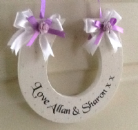 Personalised Handmade Wedding Horseshoe Gift In Ivory and Lilac
